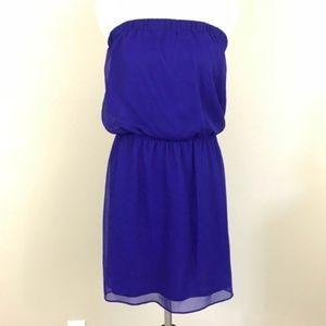 Express Purple Strapless Blouson Mini Dress D6